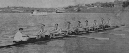 1946 NSW crew with club member Lance Robinson in the stroke seat
