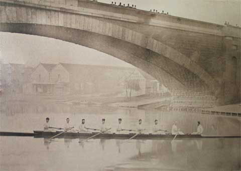1875 Civil Service crew under the old Princes Bridge - winners of the first eight oared race in Australia.