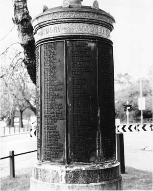 The cenotaph errected to honour VRA members killed in WWI