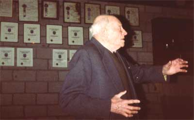 Jim Sprigg giving his last oration to the club in 1988