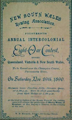 1890 Intercolonial Programme Cover