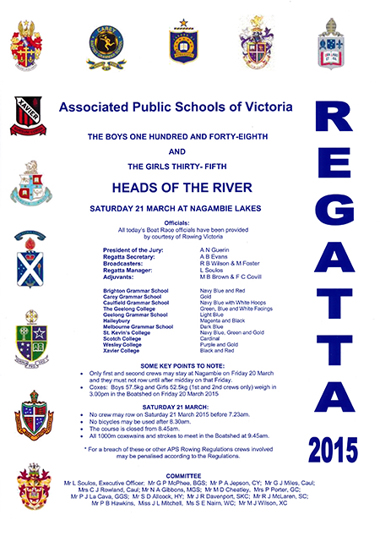 2015 regatta program cover